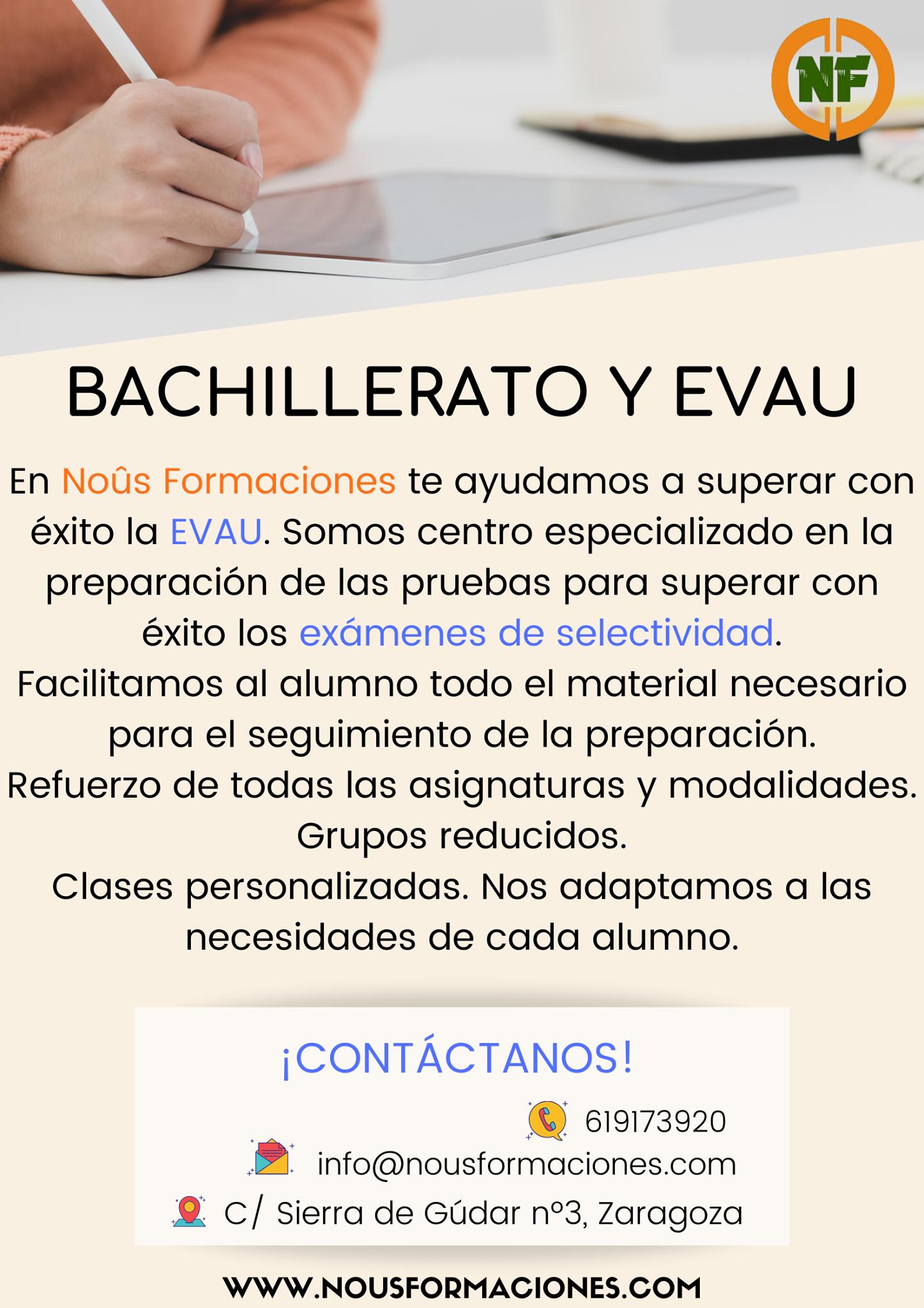 Clases EVAU y Bachillerato en Zaragoza